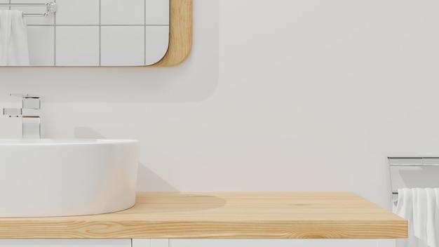 나무 욕실 조리대 3d 렌더링에 몽타주를 위한 모형 공간이 있는 세련된 욕실 인테리어