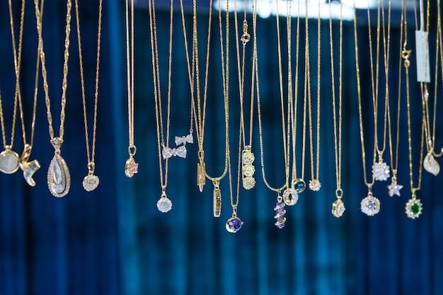 Stylish beautiful bijouterie hanging on the stand