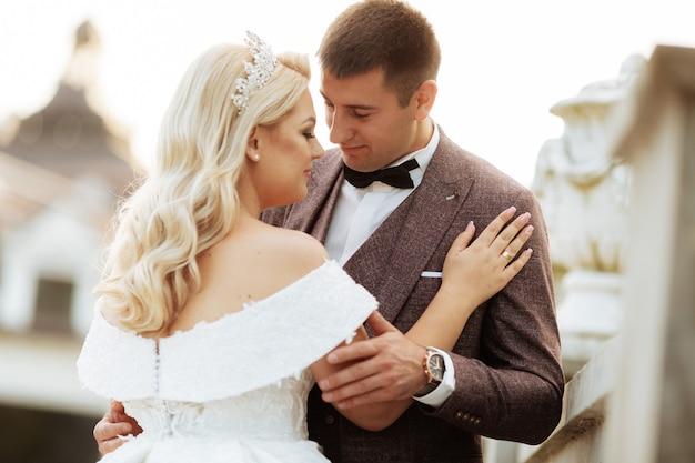 Stylish beautiful happy bride and groom, wedding celebrations