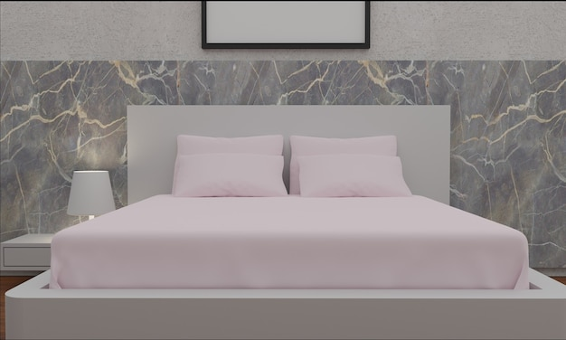 Stylish bed in white bedroom