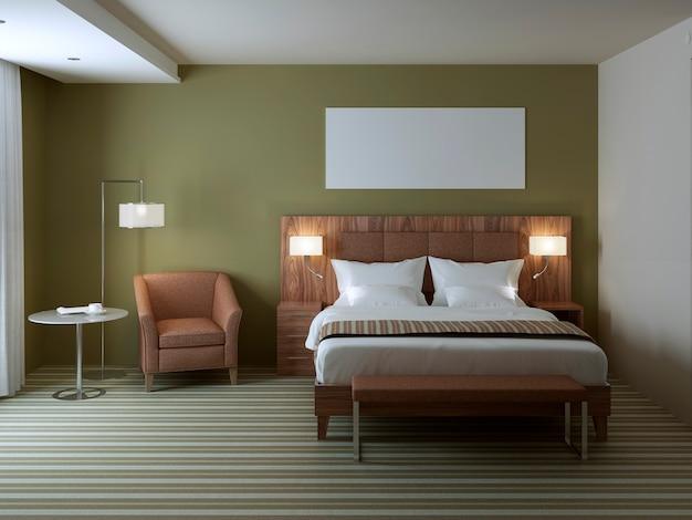 Стильный дизайн интерьера спальни с коричневым узорчатым креслом и кроватью