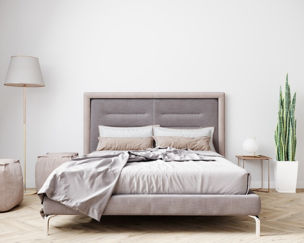 明るい色でスタイリッシュな寝室のインテリア