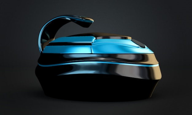 세련된 검정색 배경, 독창적 인 디자인 멀티 쿠커. 3d 일러스트, 3d 렌더링.