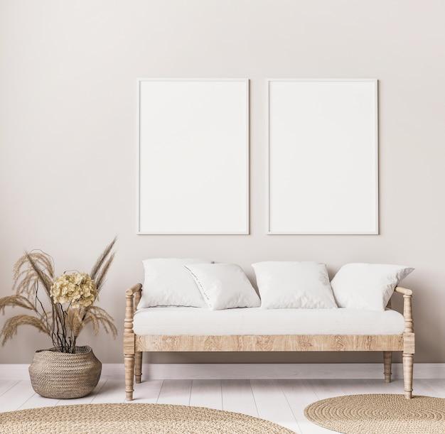 Стильный интерьер гостиной в стиле бохо с деревянным диваном