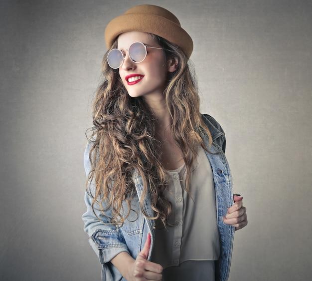 Stylish boho-style young woman