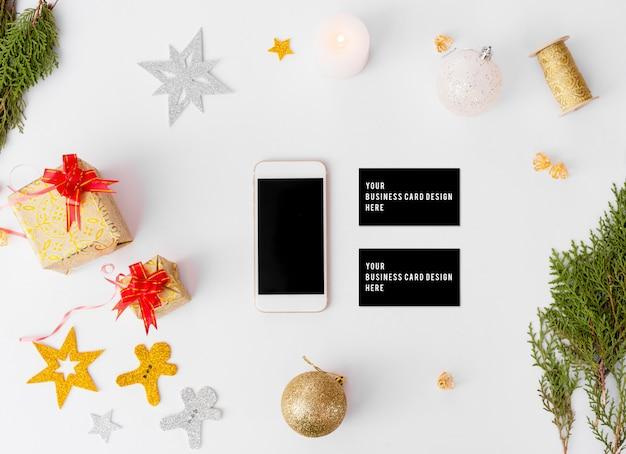 Стильный брендинг-макет для показа ваших работ. рождественское время.