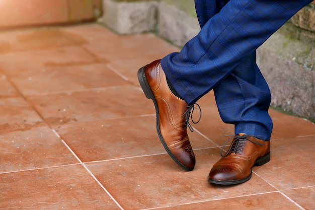 Stylish brown mens shoes close-up