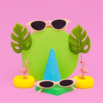 Stylish composition flat lay fashion accessories sunglasses. beach vacation concept art