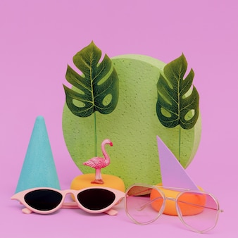 Stylish composition flat lay fashion accessories sunglasses. beach vacation concept