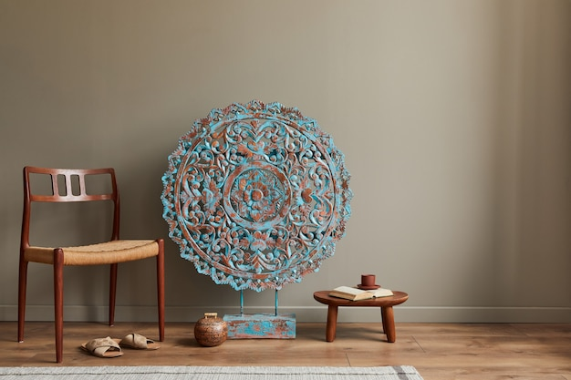 Stylish composition at moroccan interior with mandala decoration details template copy space