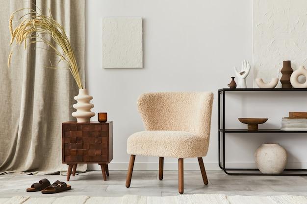 Стильная композиция интерьера уютной гостиной с макетом росписи конструкции, пушистым креслом, журнальным столиком, комодом и личными аксессуарами. современный классический стиль. шаблон.
