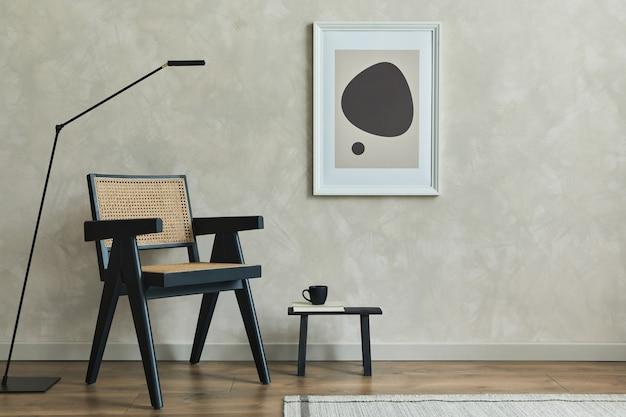 Стильная композиция интерьера уютной гостиной с макетом рамки плаката и шаблоном кресла