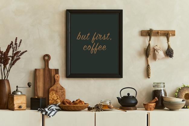 모의 포스터 프레임, 베이지색 사이드보드 및 복고풍 액세서리가 있는 현대적인 주방 인테리어 디자인의 세련된 구성. 주형. 가을분위기.