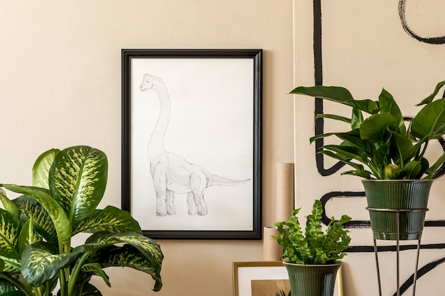 Stylish composition of retro living room interior filled with a lot of plants in different pots and black frame on the beige wall. vintage home decor. minimalistic concept..