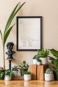 Stylish composition of retro living room interior with a lot of plants in different pots and black frame on the beige wall. vintage home decor. minimalistic concept..