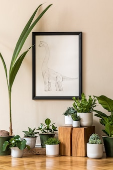 Stylish composition of retro living room interior with a lot of plants in different pots and black poster frame on the beige wall