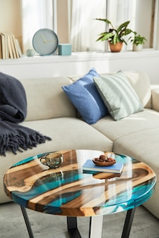デザインエポキシコーヒーテーブル、ソファ、毛布、枕、本、装飾、現代の家の装飾品を使ったスタイリッシュな構成。詳細。