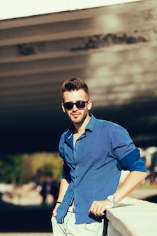 Stylish confident handsome model