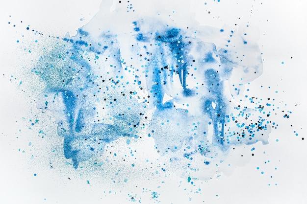 Стильная креативная акварель синего цвета с блестками.