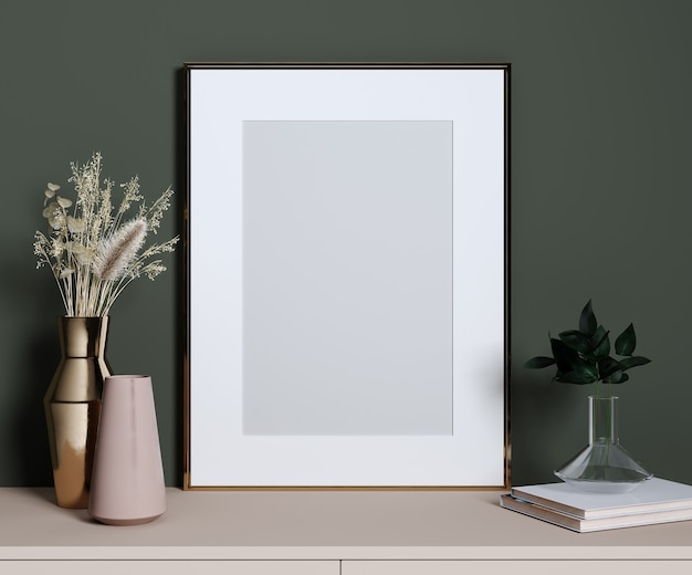 Stylish decorative set with golden frame for mockup, green wall, pink shelf and plants, 3d rendering