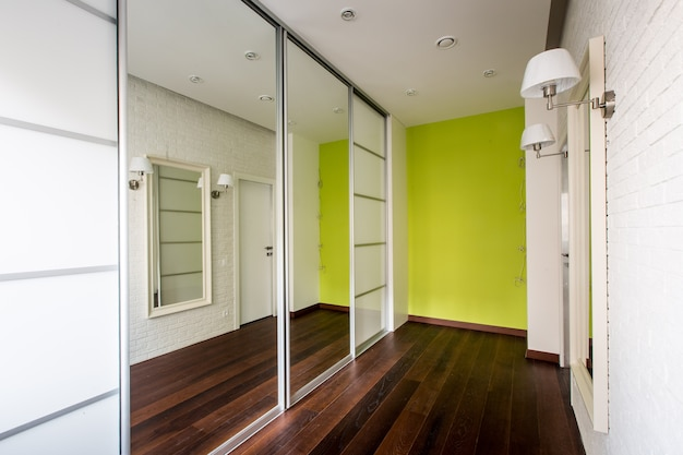 Stylish design of the corridor with mirrors