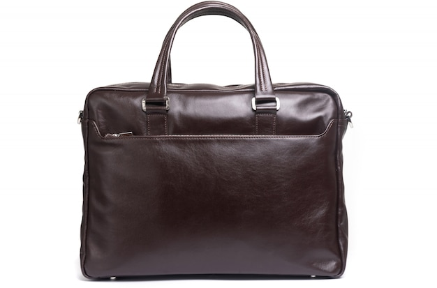 Stylish expensive leather briefcase on a white background