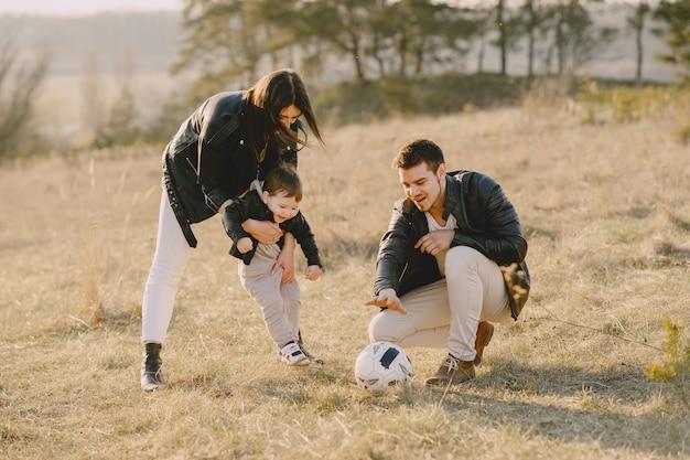 Famiglia alla moda che cammina su un campo soleggiato