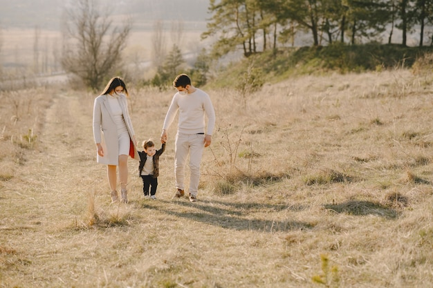 Stylish family wearing masks walking on a spring field