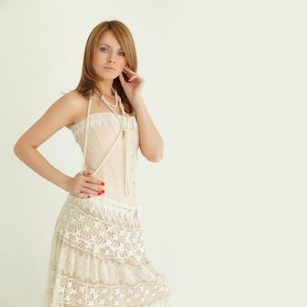 Stylish fashion model, vintage sexy summer style