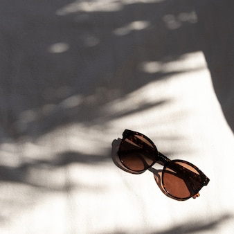 Stylish female sunglasses on white background with blurred sunlight shadows.