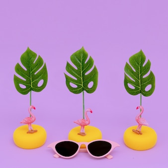 Stylish flat lay composition. fashion accessories sunglasses. beach tropical concept