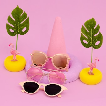 Stylish flat lay composition. fashion accessories sunglasses. beach tropical vibes.
