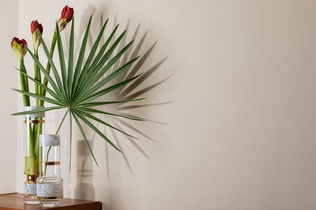 Stylish and floral composition of beautiful flowers in modern vases on the retro wooden commode with elegant accessories. blossom concept with shadows on the beige wall. interior design.