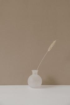 파스텔 베이지 색 배경에 마른 밀 호밀 줄기가있는 세련된 화분