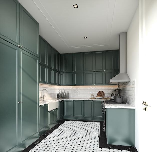 モダンなクラシックスタイルのスタイリッシュなフルキッチンミッドナイトグリーンスプレー塗装キャビネットと大理石の床タイルで壁に白いレンガタイルをインストールします。