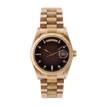 Stylish golden watch on a white surface