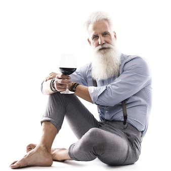 Stylish and handsome aged male model posing