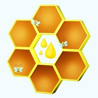 蜂と蜂蜜のドロップ3dイラストとスタイリッシュなハニカム