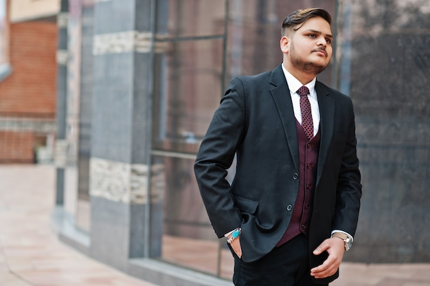 Stylish indian businessman in formal wear standing against windows in business center.