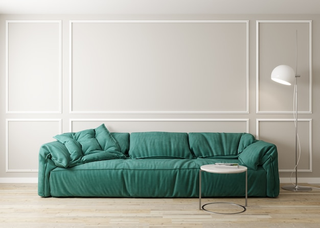 Stylish interior of bright living room with green sofa and coffee table with decoration. living room interior mockup. modern design room with bright daylight. 3d render