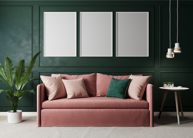 Stylish interior of bright living room with pink sofa and floor lamp, plant and coffee table with decoration. green living room interior mockup. modern design room with bright daylight. 3d rendering
