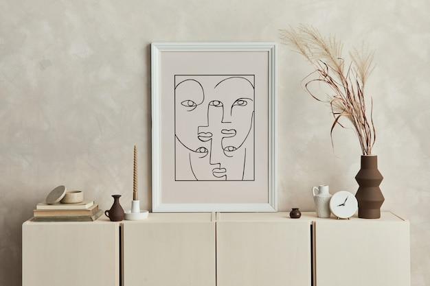 Стильный дизайн интерьера гостиной с макетом рамки постера, комодом и личными аксессуарами. современный стиль. шаблон.