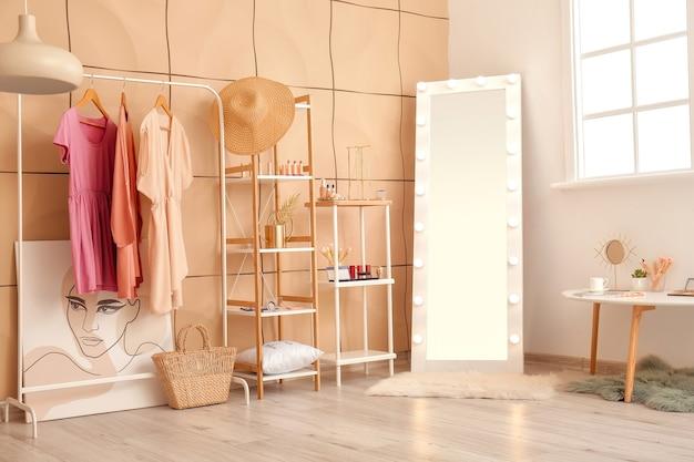 Stylish interior of modern makeup room