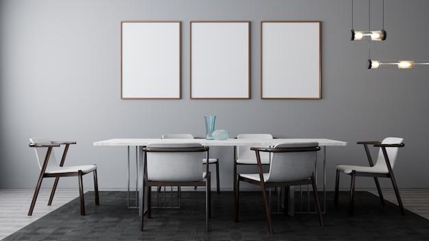 테이블과 의자가있는 밝은 식당의 세련된 인테리어. 포스터, 벽까지 조롱. 밝은 일광을 가진 현대적인 디자인 룸. 3d 렌더링
