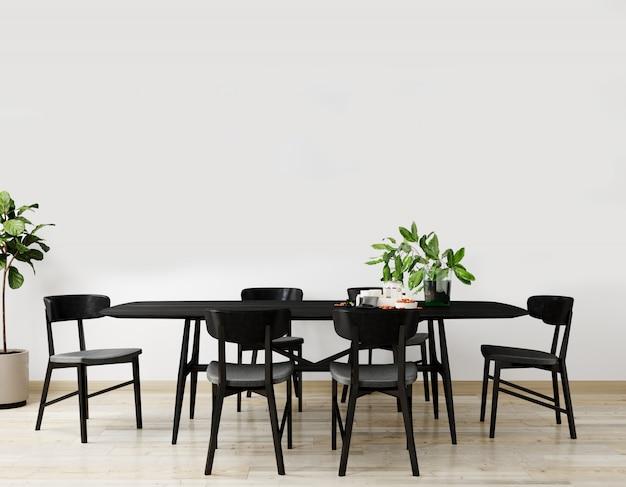 블랙 테이블과 의자 테이블, 장식 밝은 거실의 세련된 인테리어. 거실 인테리어 모형. 밝은 일광을 가진 현대적인 디자인 룸. 3d 렌더링