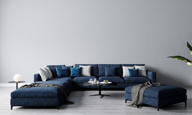 블루 소파와 커피 테이블 장식 밝은 거실의 세련된 인테리어. 거실 인테리어 모형. 밝은 일광을 가진 현대적인 디자인 룸. 3d 렌더링