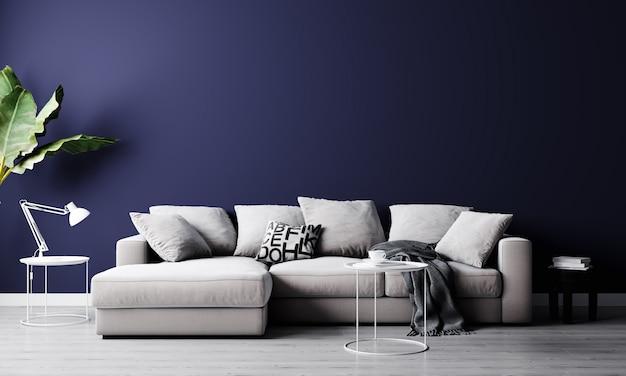 Стильный интерьер светлой гостиной с серым диваном, растением и журнальным столиком с отделкой. интерьер гостиной макет. номер с современным дизайном и ярким дневным светом. 3d-рендеринг