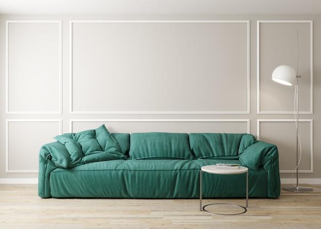Стильный интерьер светлой гостиной с зеленым диваном и журнальным столиком с отделкой. интерьер гостиной макет. номер с современным дизайном и ярким дневным светом. 3d визуализация
