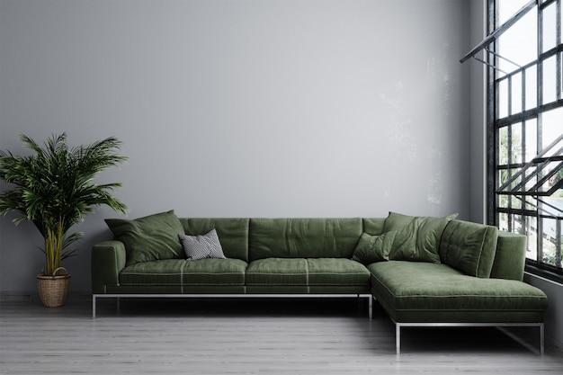 녹색 소파와 식물 밝은 거실의 세련된 인테리어. 거실 인테리어 모형. 밝은 일광을 가진 현대적인 디자인 룸. loft.3d 렌더링