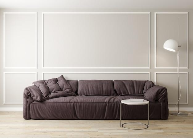 소파와 커피 테이블 장식 밝은 거실의 세련된 인테리어. 거실 인테리어 모형. 밝은 일광을 가진 현대적인 디자인 룸. 3d 렌더링